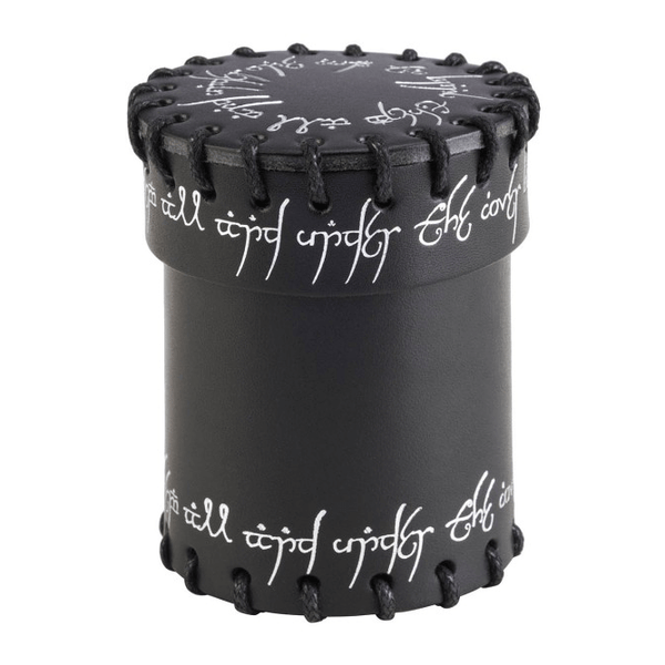 Dice Cup Black Leather Elven