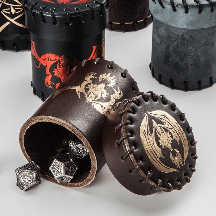 Dice Cup Brown Leather Flying Dragon