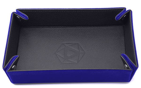 Dice Tray (8x11in) Leather Black / Velvet Blue