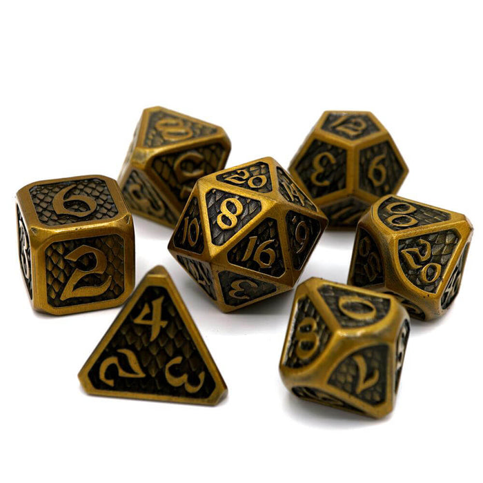 Dice 7-set Metal Drakona (16mm) Eldric Electrum