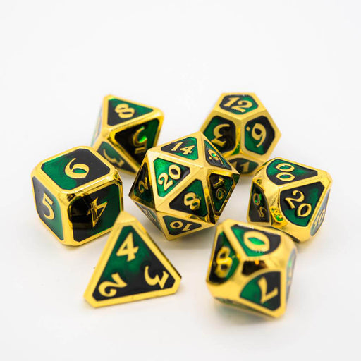 Dice 7-set Metal Mythica (16mm) Dark Arts Contagion