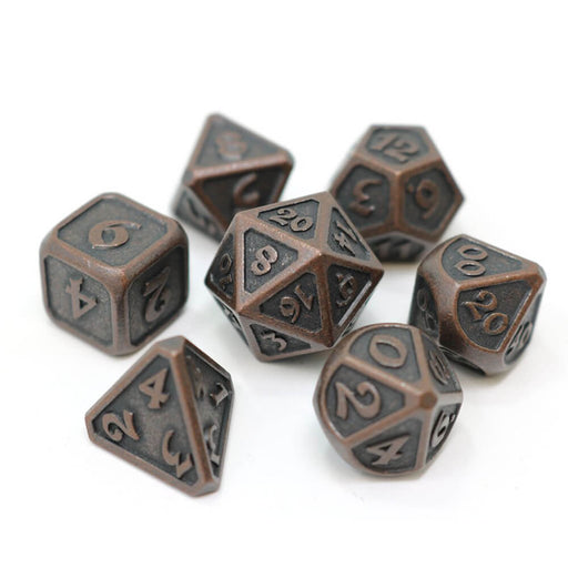 Dice 7-set Metal Mythica (16mm) Dark Copper