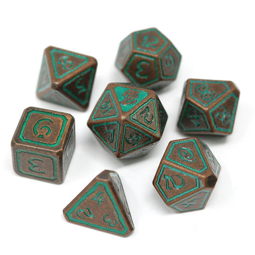 Dice 7-set Metal Unearthed (16mm) Sage