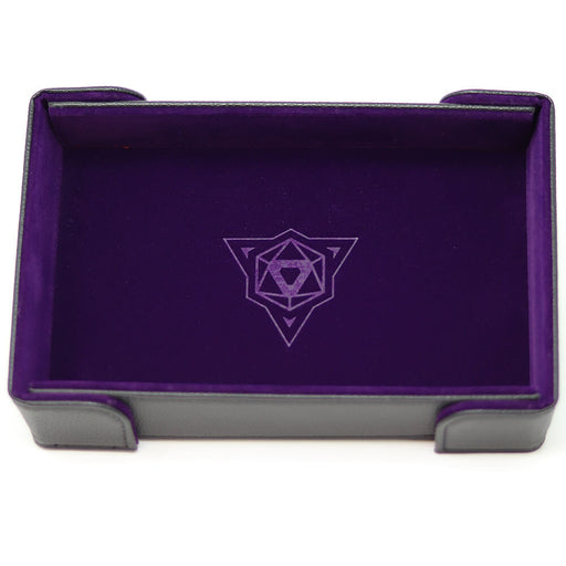 Magnetic Dice Tray (8x11in) Leather Black / Velvet Purple