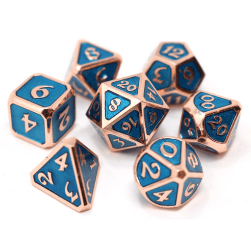 Dice 7-set Metal Mythica (16mm) Copper Aquamarine