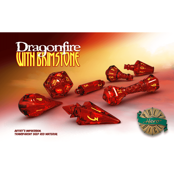 Wizard Dice 7-set Dragonfire w/ Brimstone
