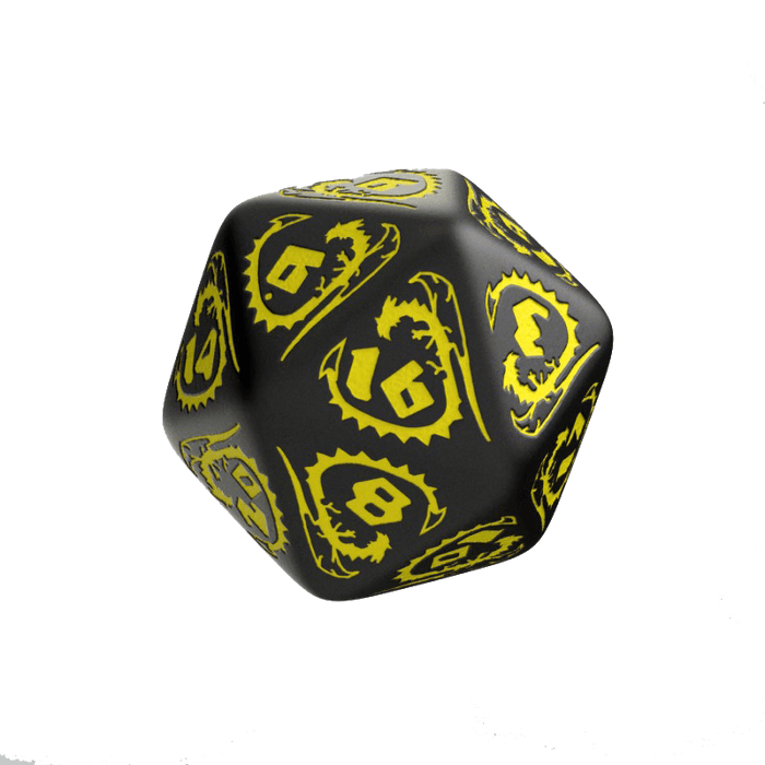 Dice 7-set Dragons (16mm) Black / Yellow
