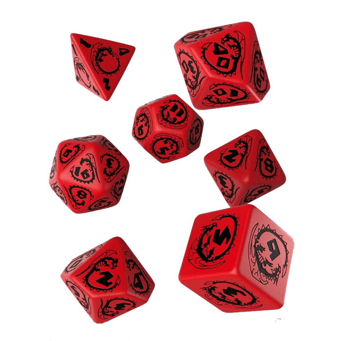 Dice 7-set Dragons (16mm) Red / Black