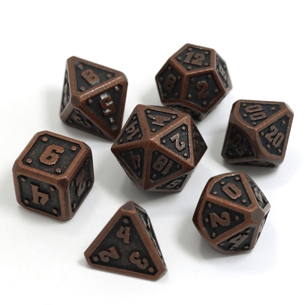 Dice 7-set Metal Dwarven Forge  (16mm) Dark Copper