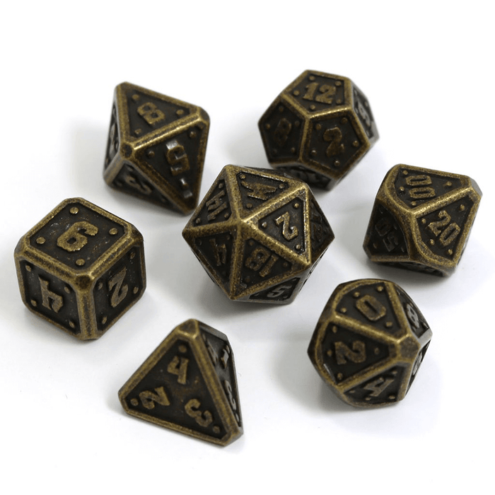 Dice 7-set Metal Dwarven Forge (16mm) Dark Gold