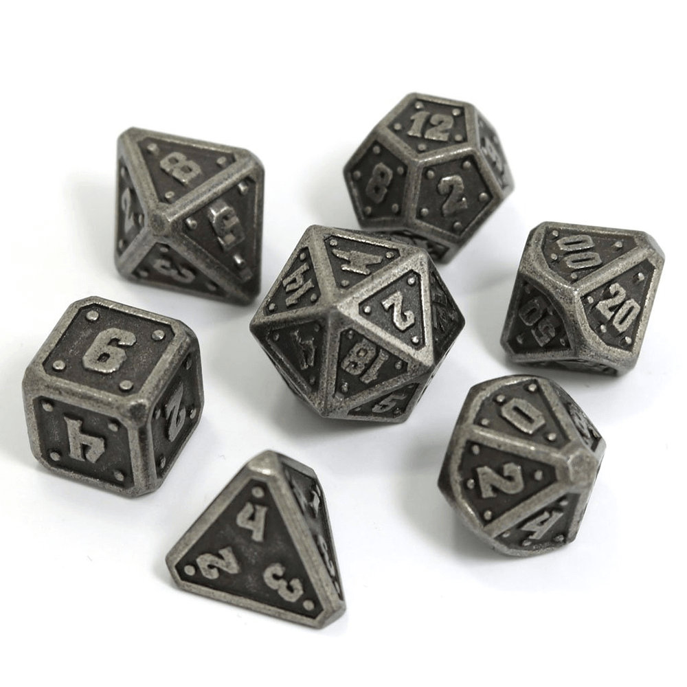 Dice 7-set Metal Dwarven Forge (16mm) Dark Silver
