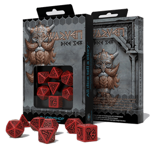 Dice 7-set Dwarven (16mm) Red / Black