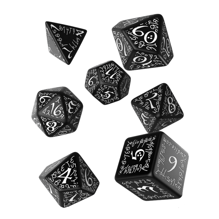 Dice 7-set Elven (16mm) Black / White