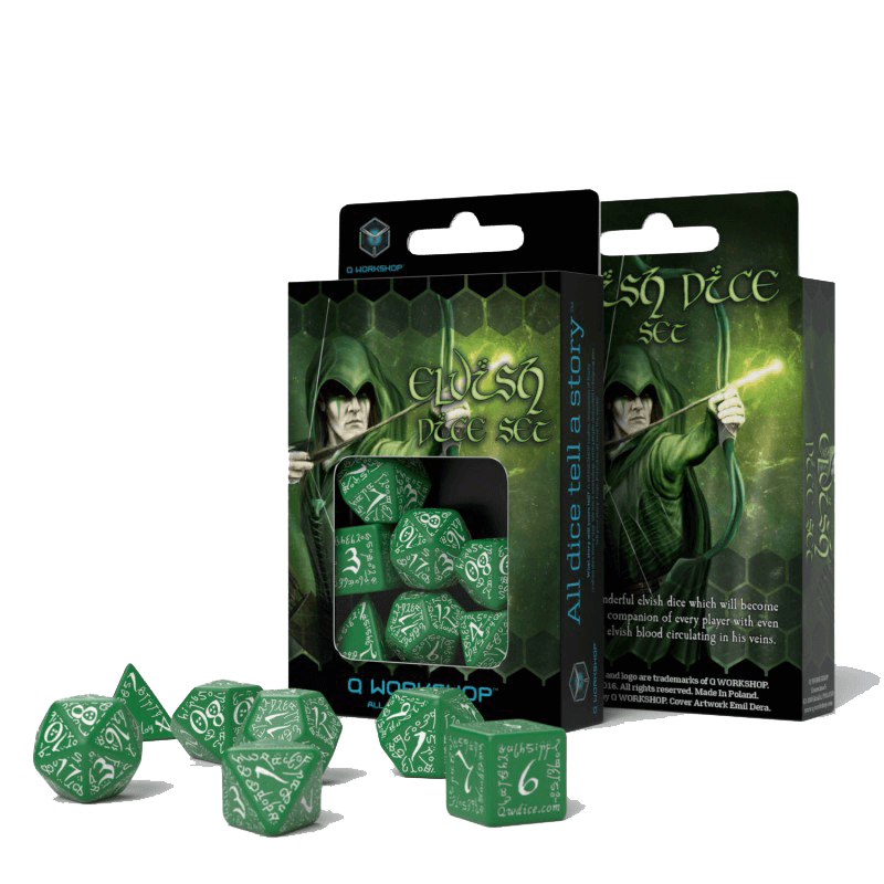 Dice 7-set Elven (16mm) Green / White