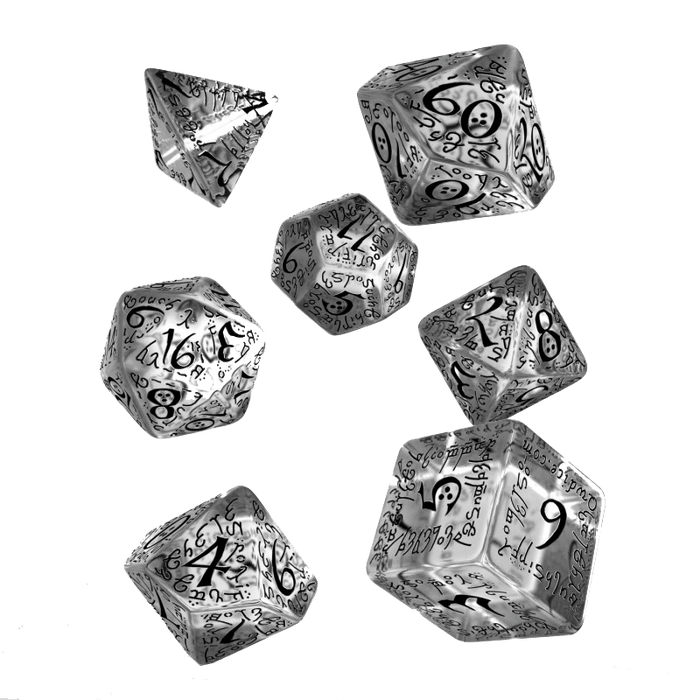 Dice 7-set Elven (16mm) Transparent / Black