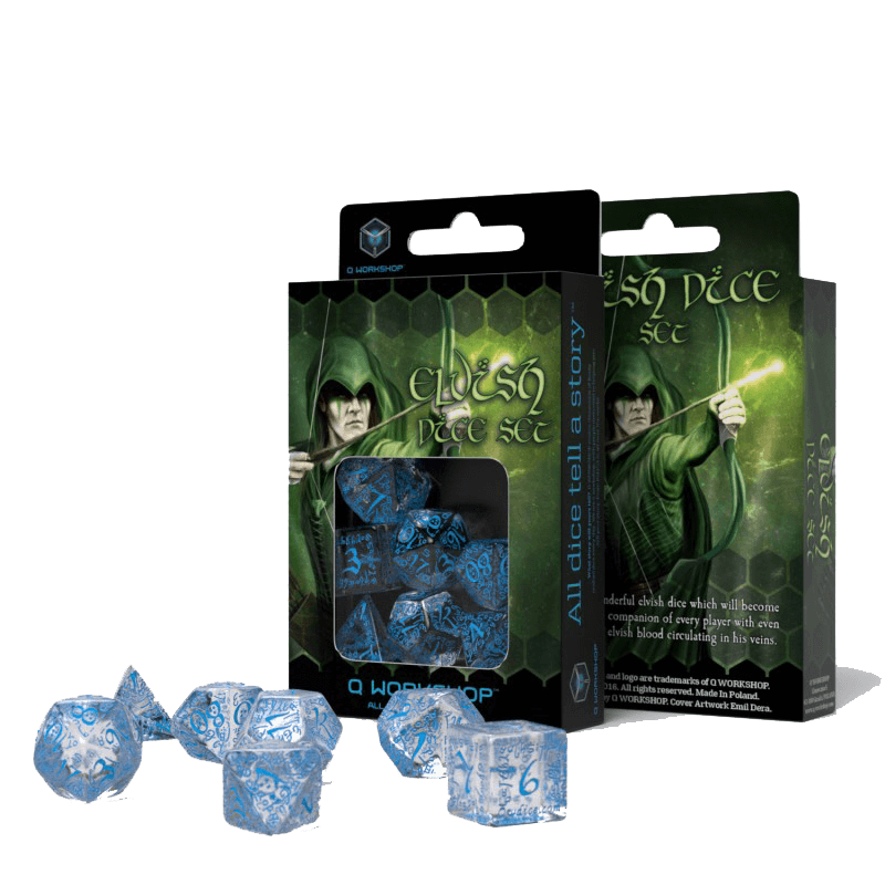 Dice 7-set Elven (16mm) Transparent / Blue