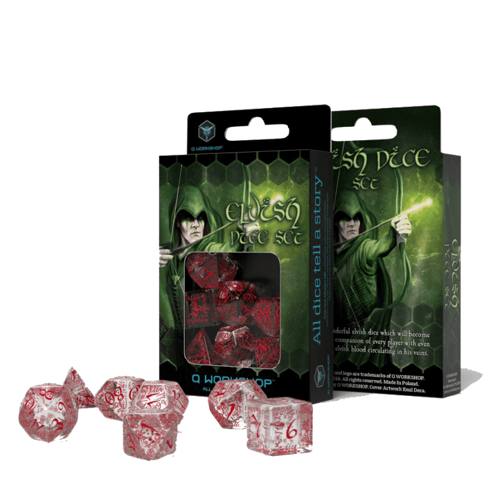 Dice 7-set Elven (16mm) Transparent / Red