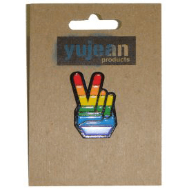 Enamel Pin : Peace Fingers (Rainbow)