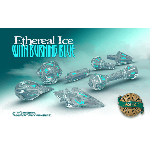 Wizard Dice 7-set Ethereal Ice w/ Burning Blue