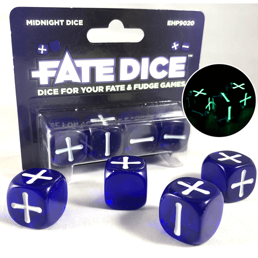 Fate Dice Set 4d6 (16mm) Midnight