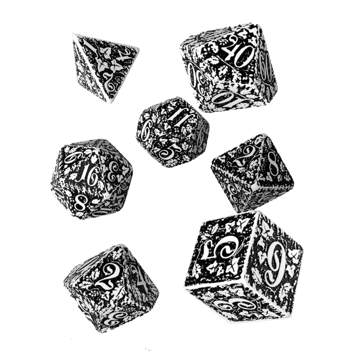 Dice 7-set Forest (16mm) Black / White