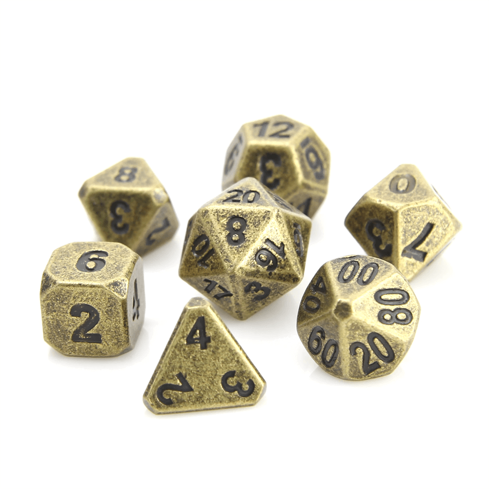 Dice 7-set Metal Forge (16mm) Ancient Gold
