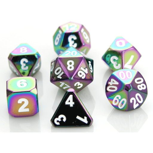 Dice 7-set Metal Forge (16mm) Scorched Rainbow / White