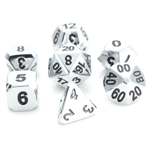 Dice 7-set Metal Forge (16mm) Shiny Silver / Black