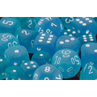 Dice 7-set Frosted (16mm) 27416 Caribbean Blue / White