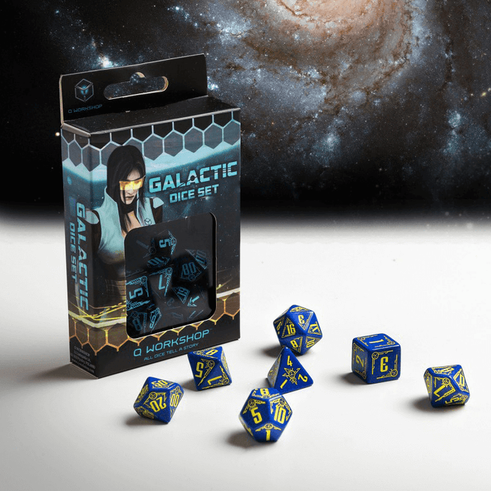 Dice 7-set Galactic (16mm) Navy / Yellow