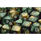 Dice 7-set Gemini (16mm) 26425 Gold Green / White