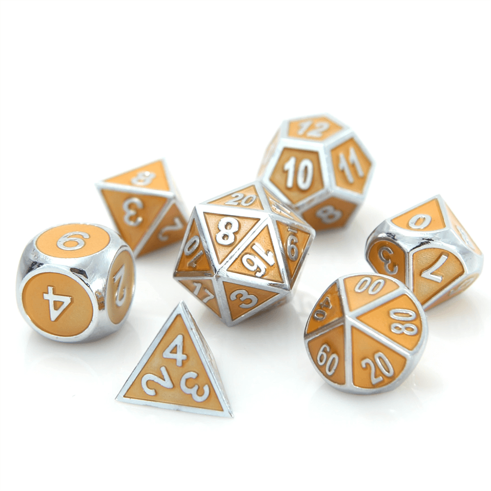 Dice 7-set Metal Gemstone (16mm) Silver Citrine