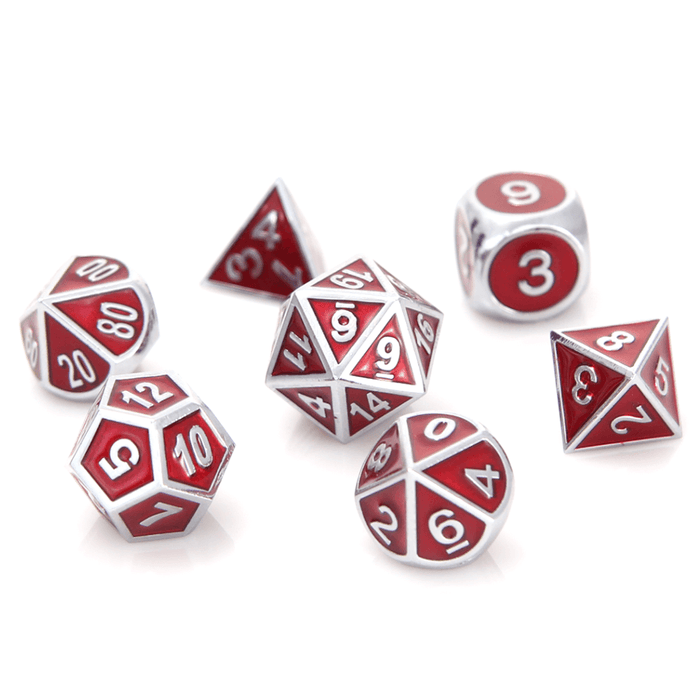 Dice 7-set Metal Gemstone (16mm) Silver Ruby