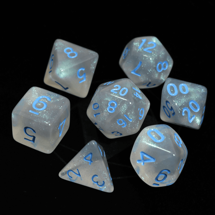 Dice 7-Set Moonstone (16mm) Glacial w/ Blue