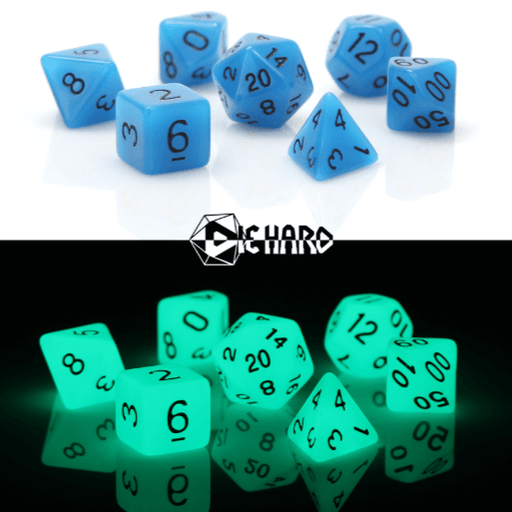 Dice 7-set Glow in the Dark (16mm) Blue