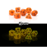Dice 7-set Glow in the Dark (16mm) Orange
