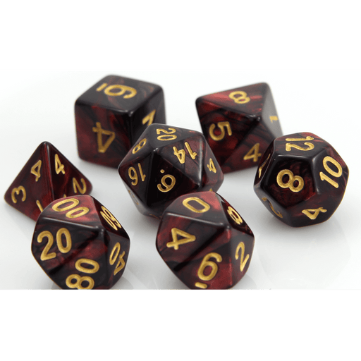 Dice 7-set Marble (16mm) Glowing Embers