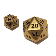 Polyhedral Dice d20 Metal (35mm) Gold Hue