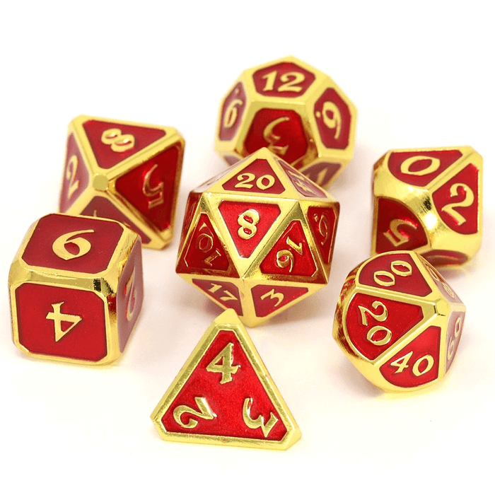 Dice 7-set Metal Mythica (16mm) Gold Ruby