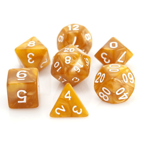 Dice 7-set Swirl (16mm) Gold / White