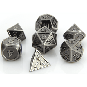 Dice 7-set Metal Gothica (16mm) Battleworn Silver