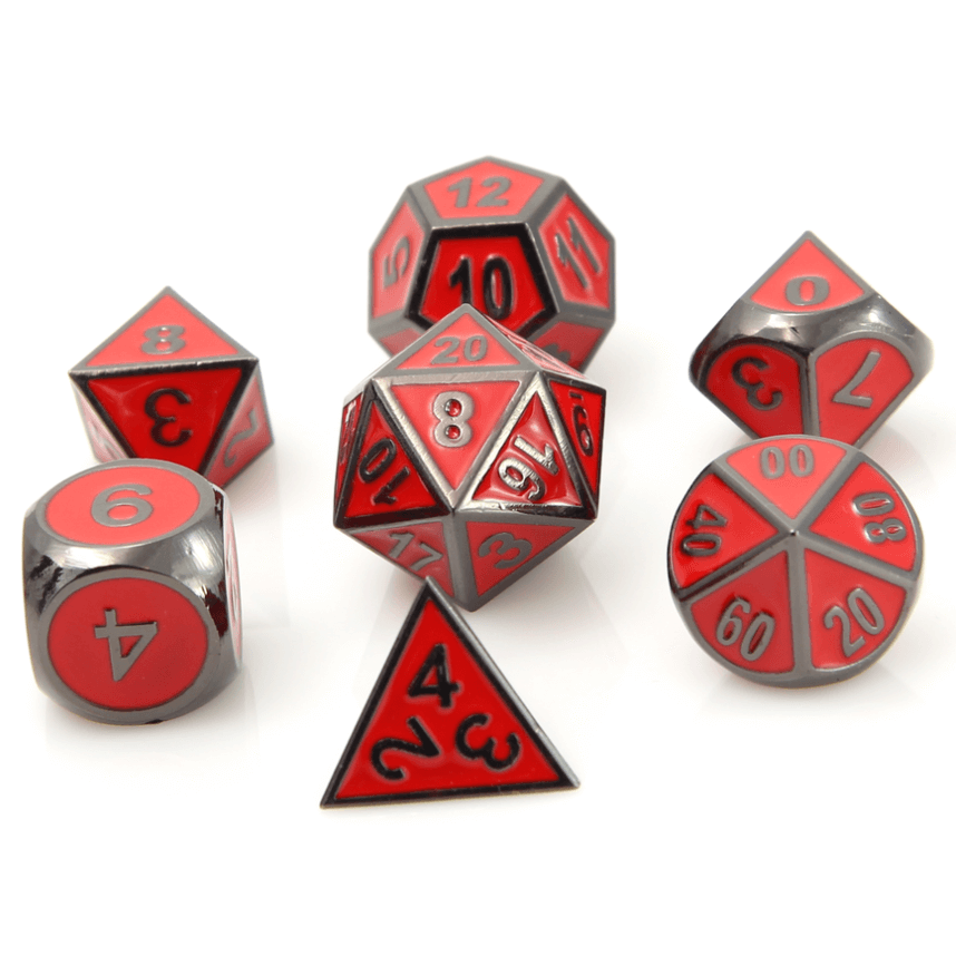 Dice 7-set Metal Gothica (16mm) Sinister Red