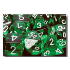 Dice Set 12d6 Translucent (16mm) 23605 Green / White