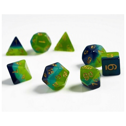 Dice 7-set Translucent (16mm) Green / Blue