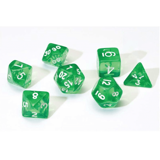 Dice 7-set Translucent (16mm) Green