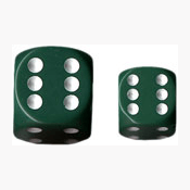 Dice Set 12d6 Opaque (16mm) 25605 Green / White