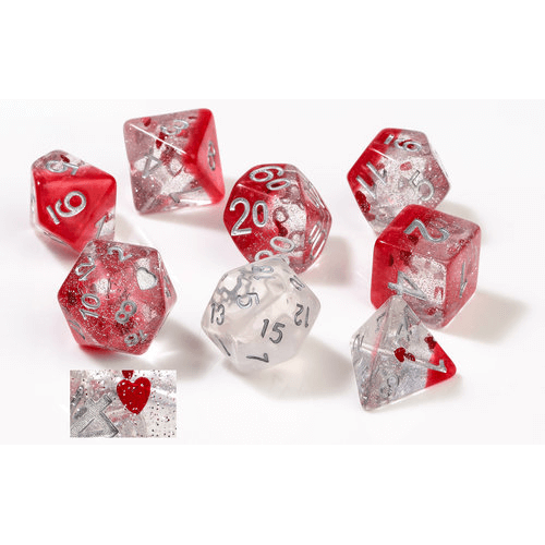 Dice 7-set Translucent (16mm) Hearts