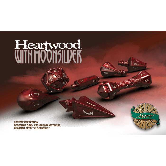 Wizard Dice 7-set Heartwood w/ Moonsilver