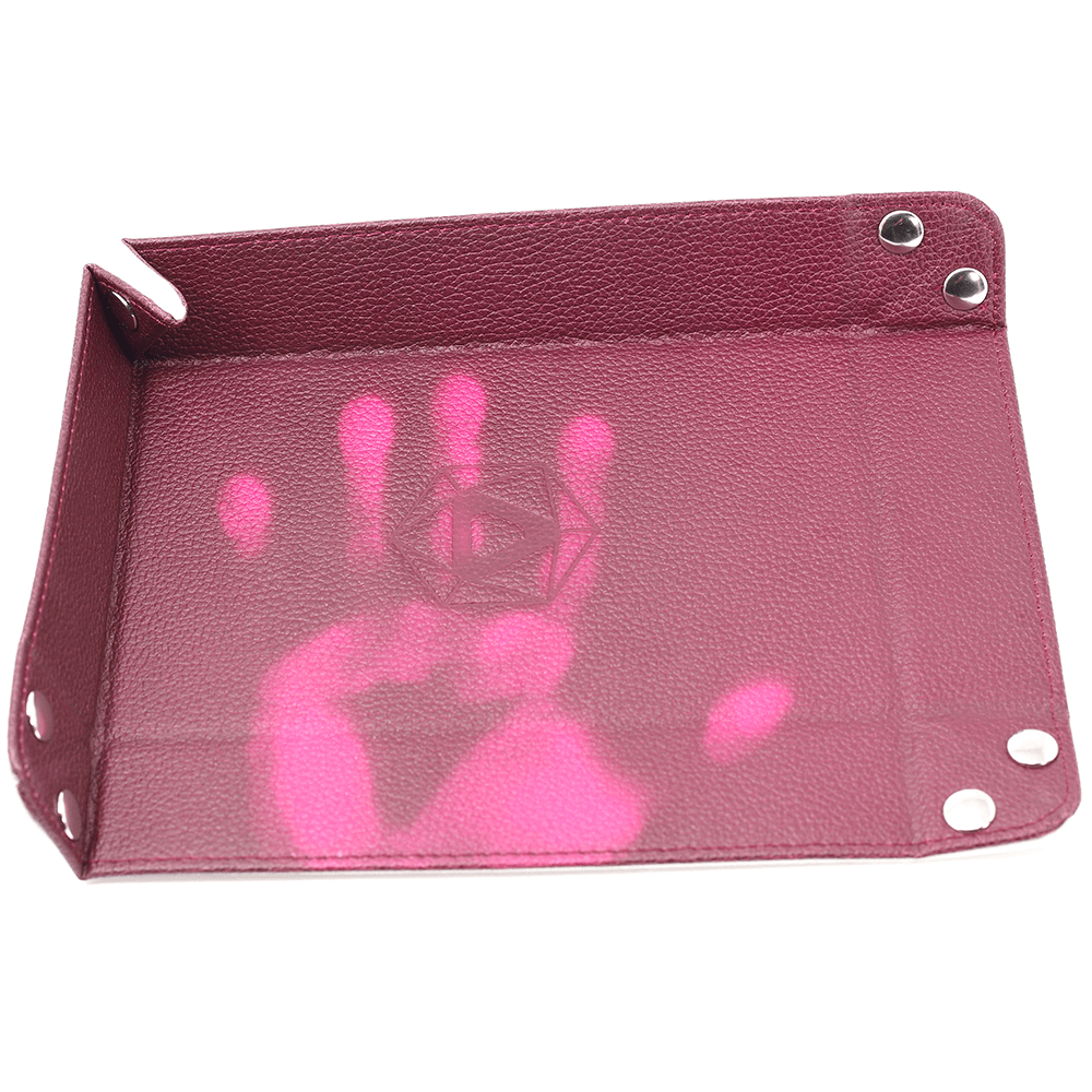 Dice Tray (8x11in) Heat Change Leather Pink / Velvet Cream