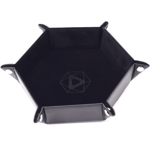 Dice Tray (10x12in) Hex Leather Black / Velvet Black